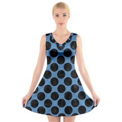 CIRCLES2 BLACK MARBLE & BLUE COLORED PENCIL (R) V-Neck Sleeveless Dress