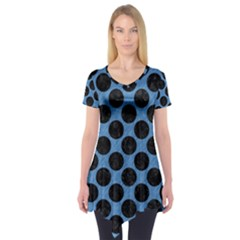 CIRCLES2 BLACK MARBLE & BLUE COLORED PENCIL (R) Short Sleeve Tunic