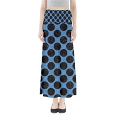 CIRCLES2 BLACK MARBLE & BLUE COLORED PENCIL (R) Full Length Maxi Skirt
