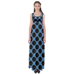 CIRCLES2 BLACK MARBLE & BLUE COLORED PENCIL (R) Empire Waist Maxi Dress