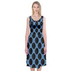 CIRCLES2 BLACK MARBLE & BLUE COLORED PENCIL (R) Midi Sleeveless Dress