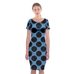 CIRCLES2 BLACK MARBLE & BLUE COLORED PENCIL (R) Classic Short Sleeve Midi Dress