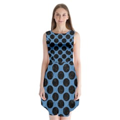 CIRCLES2 BLACK MARBLE & BLUE COLORED PENCIL (R) Sleeveless Chiffon Dress