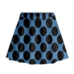 CIRCLES2 BLACK MARBLE & BLUE COLORED PENCIL (R) Mini Flare Skirt