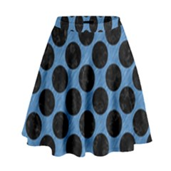CIRCLES2 BLACK MARBLE & BLUE COLORED PENCIL (R) High Waist Skirt