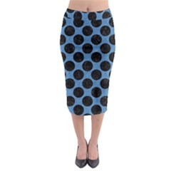 CIRCLES2 BLACK MARBLE & BLUE COLORED PENCIL (R) Midi Pencil Skirt