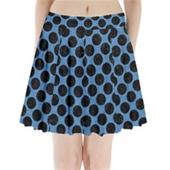 CIRCLES2 BLACK MARBLE & BLUE COLORED PENCIL (R) Pleated Mini Skirt