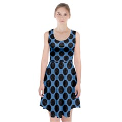 CIRCLES2 BLACK MARBLE & BLUE COLORED PENCIL (R) Racerback Midi Dress