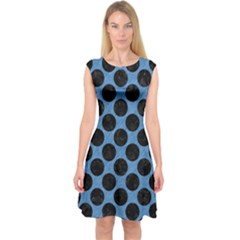 CIRCLES2 BLACK MARBLE & BLUE COLORED PENCIL (R) Capsleeve Midi Dress