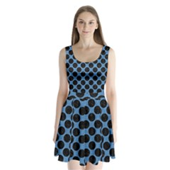 CIRCLES2 BLACK MARBLE & BLUE COLORED PENCIL (R) Split Back Mini Dress