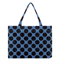 CIRCLES2 BLACK MARBLE & BLUE COLORED PENCIL (R) Medium Tote Bag