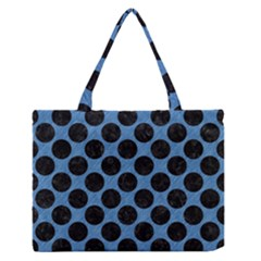 CIRCLES2 BLACK MARBLE & BLUE COLORED PENCIL (R) Medium Zipper Tote Bag