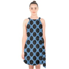 CIRCLES2 BLACK MARBLE & BLUE COLORED PENCIL (R) Halter Collar Waist Tie Chiffon Dress