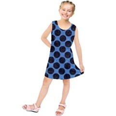 CIRCLES2 BLACK MARBLE & BLUE COLORED PENCIL (R) Kids  Tunic Dress