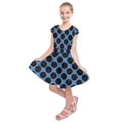CIRCLES2 BLACK MARBLE & BLUE COLORED PENCIL (R) Kids  Short Sleeve Dress