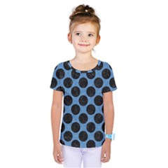 CIRCLES2 BLACK MARBLE & BLUE COLORED PENCIL (R) Kids  One Piece Tee