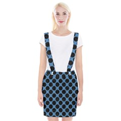CIRCLES2 BLACK MARBLE & BLUE COLORED PENCIL (R) Braces Suspender Skirt