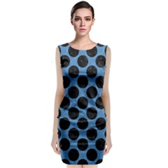 CIRCLES2 BLACK MARBLE & BLUE COLORED PENCIL (R) Sleeveless Velvet Midi Dress