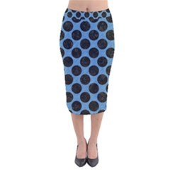 CIRCLES2 BLACK MARBLE & BLUE COLORED PENCIL (R) Velvet Midi Pencil Skirt