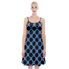 CIRCLES2 BLACK MARBLE & BLUE COLORED PENCIL (R) Spaghetti Strap Velvet Dress