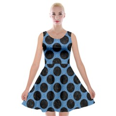 CIRCLES2 BLACK MARBLE & BLUE COLORED PENCIL (R) Velvet Skater Dress