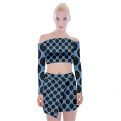 CIRCLES2 BLACK MARBLE & BLUE COLORED PENCIL (R) Off Shoulder Top with Skirt Set
