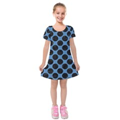 CIRCLES2 BLACK MARBLE & BLUE COLORED PENCIL (R) Kids  Short Sleeve Velvet Dress