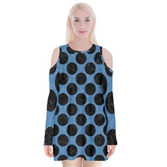 CIRCLES2 BLACK MARBLE & BLUE COLORED PENCIL (R) Velvet Long Sleeve Shoulder Cutout Dress