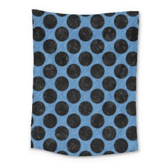 CIRCLES2 BLACK MARBLE & BLUE COLORED PENCIL (R) Medium Tapestry