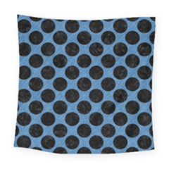 CIRCLES2 BLACK MARBLE & BLUE COLORED PENCIL (R) Square Tapestry (Large)