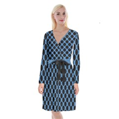 CIRCLES2 BLACK MARBLE & BLUE COLORED PENCIL (R) Long Sleeve Velvet Front Wrap Dress