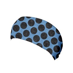 CIRCLES2 BLACK MARBLE & BLUE COLORED PENCIL (R) Yoga Headband