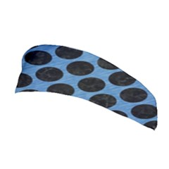 CIRCLES2 BLACK MARBLE & BLUE COLORED PENCIL (R) Stretchable Headband