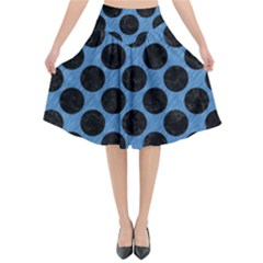 CIRCLES2 BLACK MARBLE & BLUE COLORED PENCIL (R) Flared Midi Skirt