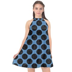 CIRCLES2 BLACK MARBLE & BLUE COLORED PENCIL (R) Halter Neckline Chiffon Dress
