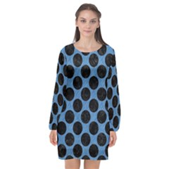 CIRCLES2 BLACK MARBLE & BLUE COLORED PENCIL (R) Long Sleeve Chiffon Shift Dress