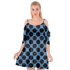 CIRCLES2 BLACK MARBLE & BLUE COLORED PENCIL (R) Cutout Spaghetti Strap Chiffon Dress
