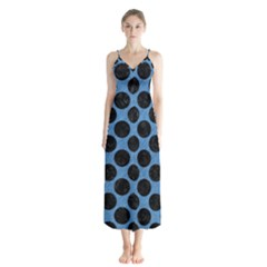 CIRCLES2 BLACK MARBLE & BLUE COLORED PENCIL (R) Button Up Chiffon Maxi Dress