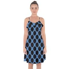 CIRCLES2 BLACK MARBLE & BLUE COLORED PENCIL (R) Ruffle Detail Chiffon Dress