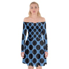 CIRCLES2 BLACK MARBLE & BLUE COLORED PENCIL (R) Off Shoulder Skater Dress