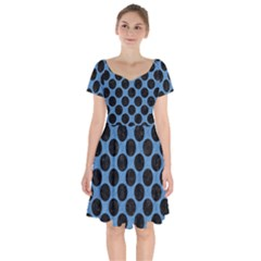 CIRCLES2 BLACK MARBLE & BLUE COLORED PENCIL (R) Short Sleeve Bardot Dress