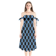 CIRCLES2 BLACK MARBLE & BLUE COLORED PENCIL (R) Shoulder Tie Bardot Midi Dress