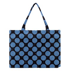 Circles2 Black Marble & Blue Colored Pencil Medium Tote Bag by trendistuff