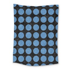 Circles1 Black Marble & Blue Colored Pencil Medium Tapestry by trendistuff