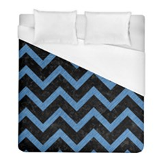 Chevron9 Black Marble & Blue Colored Pencil Duvet Cover (full/ Double Size) by trendistuff