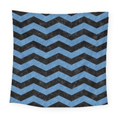Chevron3 Black Marble & Blue Colored Pencil Square Tapestry (large) by trendistuff