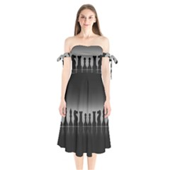 Chess Pieces Shoulder Tie Bardot Midi Dress by Valentinaart