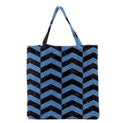 Chevron2 Black Marble & Blue Colored Pencil Grocery Tote Bag by trendistuff