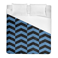Chevron2 Black Marble & Blue Colored Pencil Duvet Cover (full/ Double Size) by trendistuff