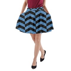 Chevron2 Black Marble & Blue Colored Pencil A Line Pocket Skirt by trendistuff